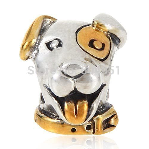 European Antique 925 Sterling Silver Lovely Lucky Dog Charm Beads with Gold Fits  DIY Chamilia Style Bracelets Jewelry