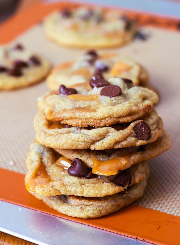 Salted Caramel Chocolate Chip Cookies #cookies