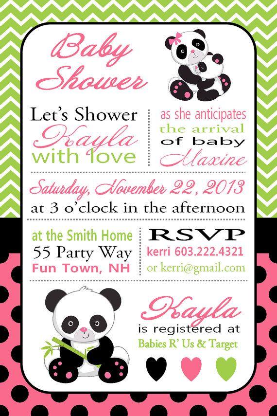 Panda Baby Shower Invitation Black White by AsYouWishCreations4u