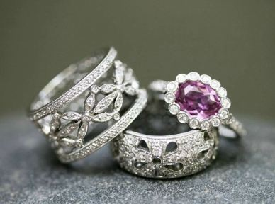 Cathy Waterman...love diamond stack rings.