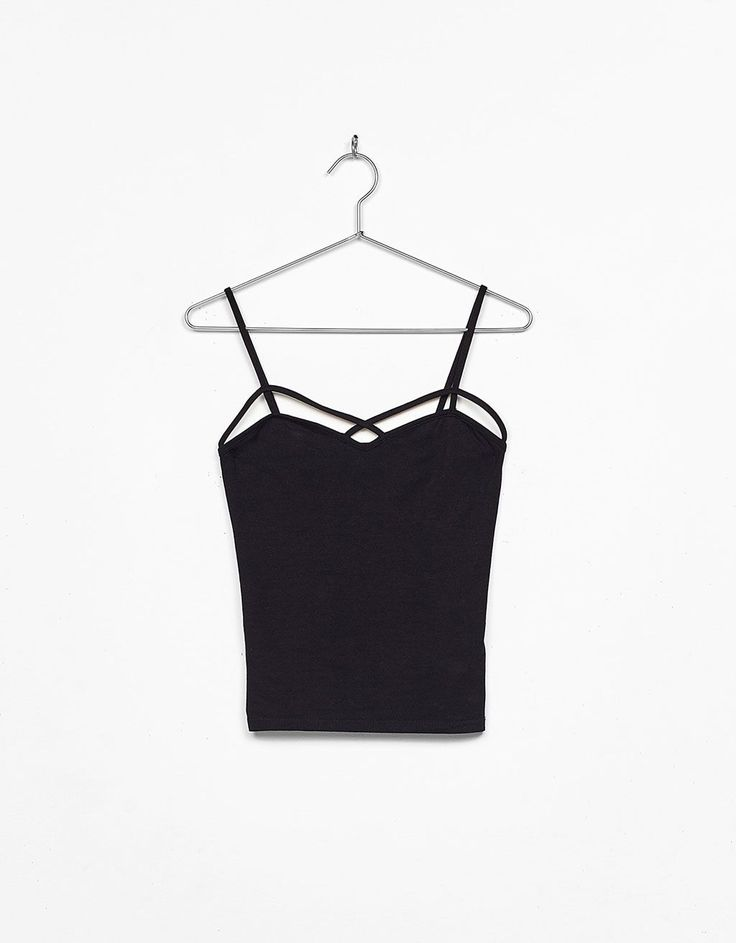 Tank top with straps at neckline Colour: Black Composition:EXTERIOR 48% cotton 47% modal 5% elastane Made by Bershka,2017 #fashion #style #styleinspiration #mood #bershkastyle #bershka #spain
