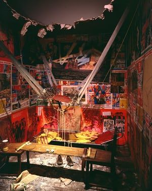 The Man Who Flew into Space from His Apartment (1985) … launched through the ceiling of a Soviet-era apartment, the man leaves behind two shoes. Photograph: © Ilya & Emilia Kabakov  'A paradise inside hell' … the amazing Kabakovs on how art became a weapon in Soviet times