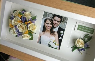 cute way to preserve bouquet and boutonniere! in the middle could be the invite?