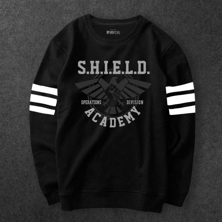 Marvel Agents Of Shield Logo Sweat Shirts Men black Agent Shield Hoody