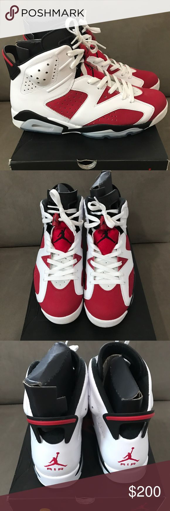 "Air Jordan Retro 6 ""Carmine"" Super Clean! I only wore these around the house. Never touched concrete. Too clean! Nike Shoes Sneakers"