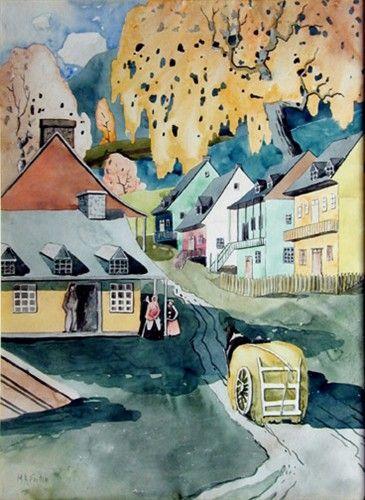 Marc-Aurèle Fortin (Canadian, 1888 -1970) - Village, Quebec, 1923