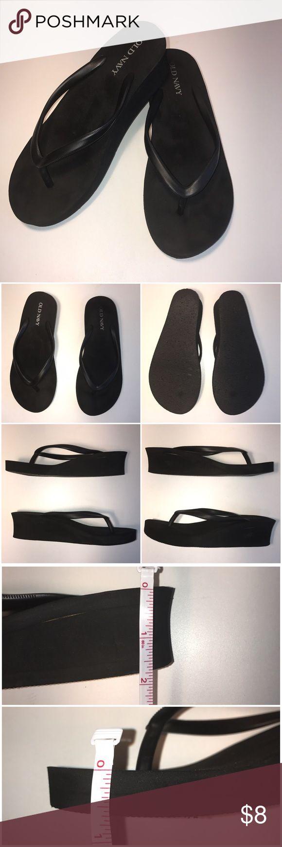 Black sandals old navy - Old Navy Black Wedge Flip Flops Size 6 Old Navy Black Wedge Flip Flops