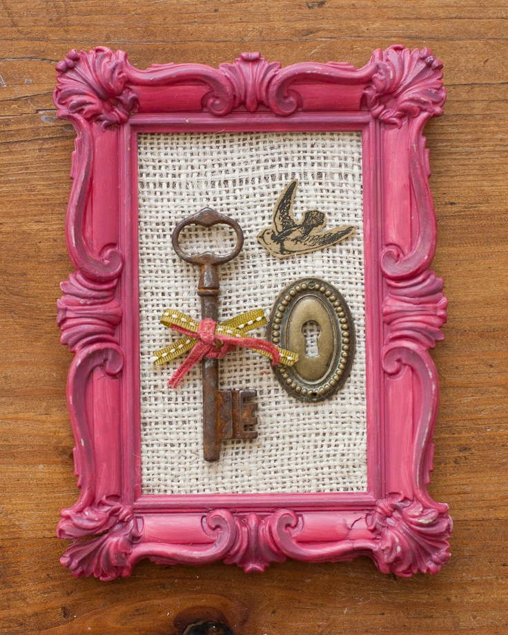 finished product: antique french skeleton key collage in vintage frame. $30.00, via Etsy.