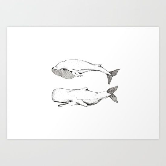 Buy Two Whales. Art Print by WEUSEDTODANCE.