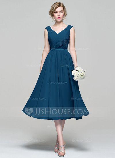 A-Line/Princess V-neck Tea-Length Ruffle Zipper Up Cap Straps Sleeveless No Other Colors Spring Summer Fall General Plus Chiffon Bridesmaid Dress