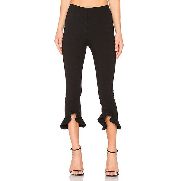 NICHOLAS Frill Hem Pant (523 AUD) ❤ liked on Polyvore featuring pants, zipper trousers, zipper pants, ruffle pants and zip pants