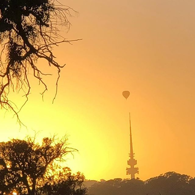 Morning walk #sunrise #hotairballoon #telstratowercanberra