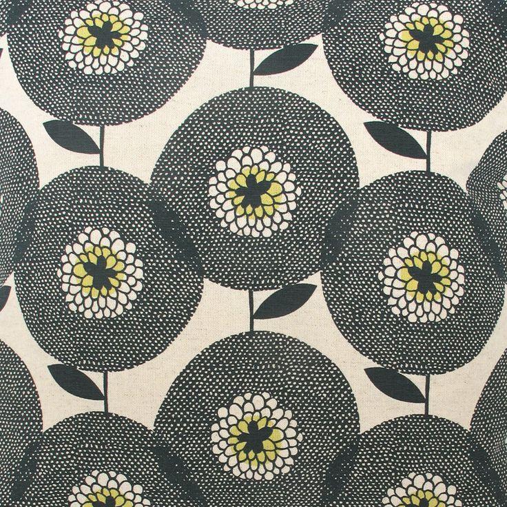 Fabric by the metre Flower Field in Penny Black by skinnylaminx