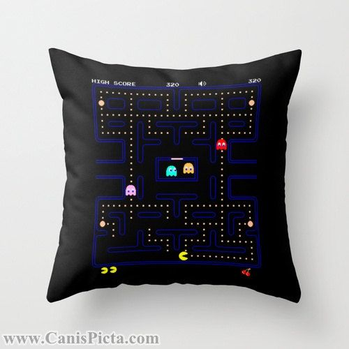 PacMan Video Game Throw Pillow 16x16 Graphic by CanisPicta on Etsy, $35.00  Pac Man, PacMan, Video Game, Gamer, Hot, 80s, 90s, Kid, Namco, Black, Graphic, Decorative Cover, Pop Culture, 1980, Nerdy, Nerd, Geek, Geekery, Geeks, Namco.