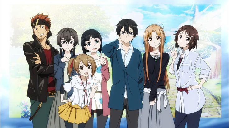 Sword Art Online: Klein, Shino, Silica, Suguha, Kirito, Asuna y Lisbeth