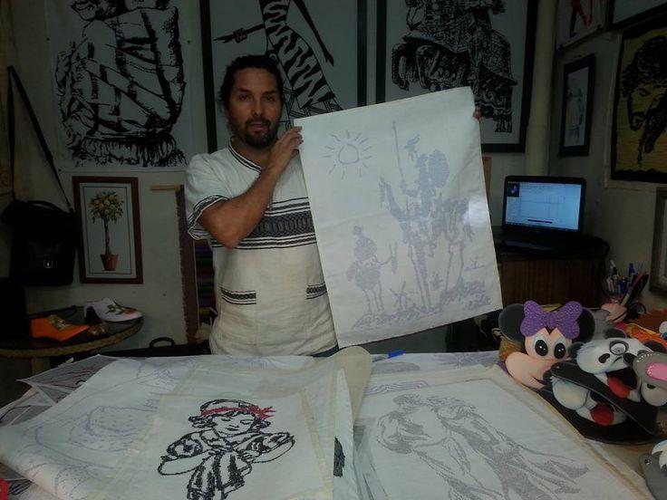 quijote dibujado en tela