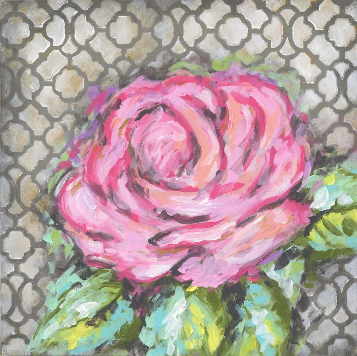 Rose on Gray Abstract Pink Canvas Art