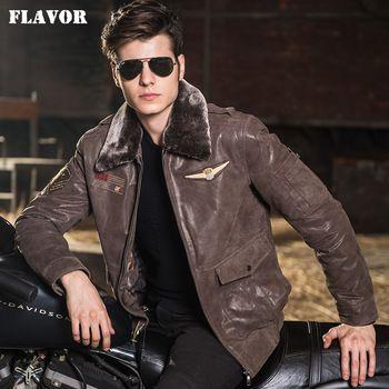 Piel de cerdo chaqueta de cuero real de los hombres de la fuerza aérea chaqueta De Aviador de los hombres chaquetas de La Motocicleta de Cuero Genuino abrigo de cuero chaqueta de bombardero