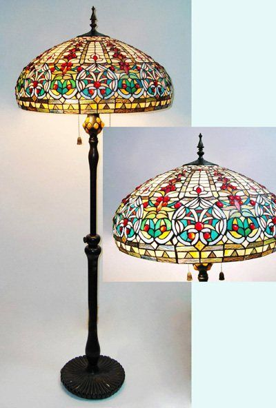 Tiffany Floor Lamps Uk: Find this Pin and more on Let there be light!. HUGE GLASS COUNT Victorian  tiffany styled Floor Lamp,Lighting
