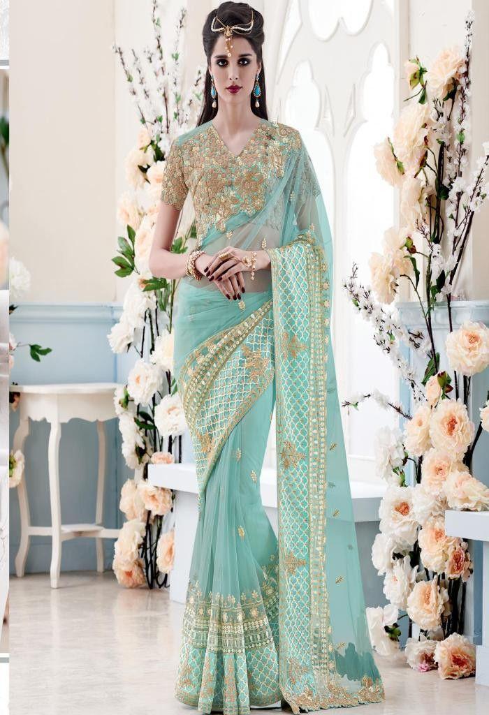 Green Net Designer Saree 3912