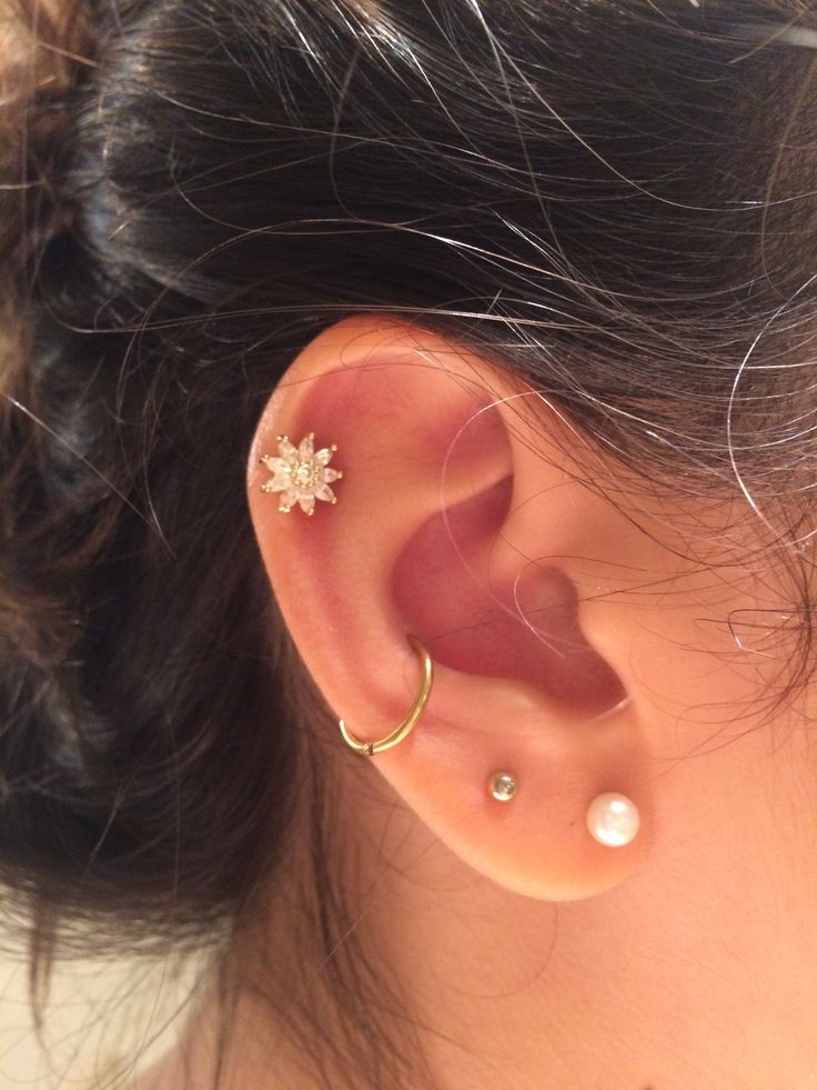 Nice conch and cartilage ear piercing ✨