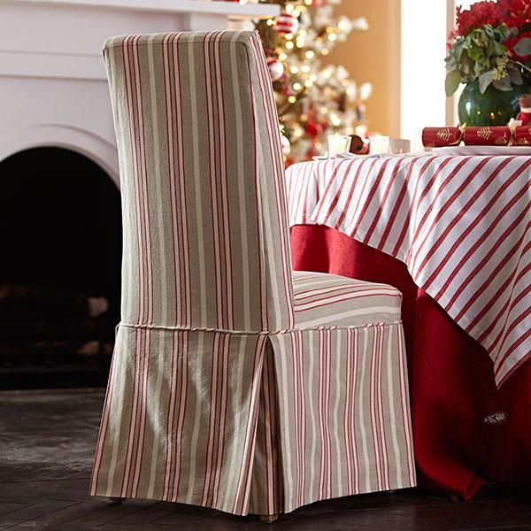 wisteria furniture chairs slipcovered parsons chair red stripe