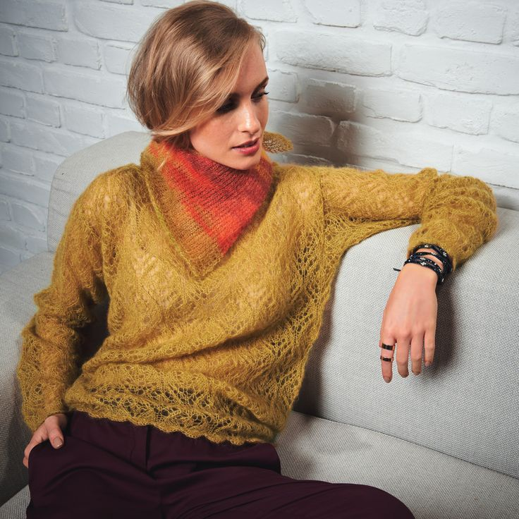 Lana Grossa TUCH MIT KRAUS-RECHTS-RAND Silkhair print - LACE No. 4 - Modell 21 | FILATI.cc WebShop