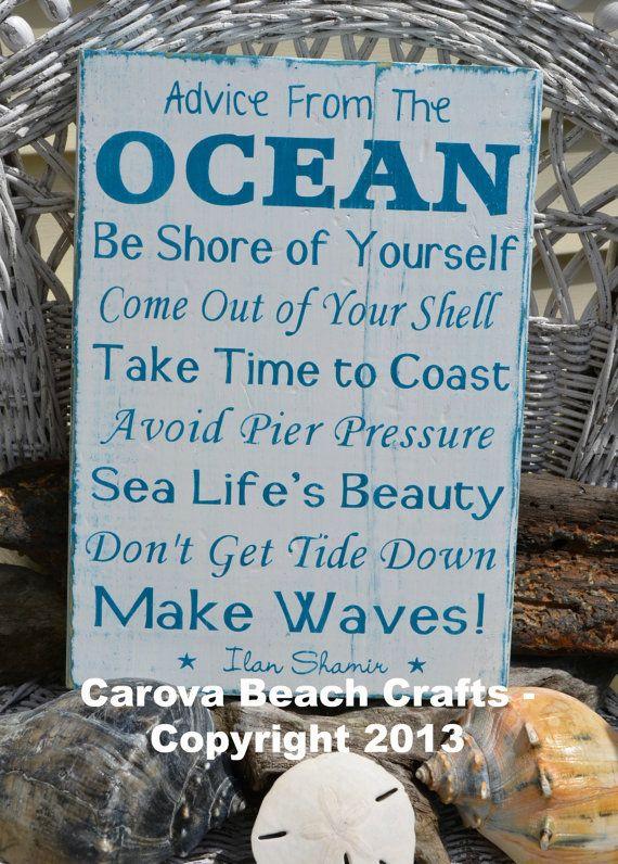 Beach Decor Sign - Beach House - Advice From The Ocean - Beach Signs - Beach Rules - Wall Decor - Beach Theme - Rustic - Coastal - Nautical