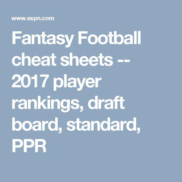 Fantasy Football cheat sheets -- 2017 player rankings, draft board, standard, PPR