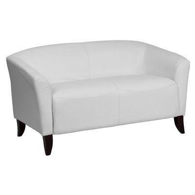 Latitude Run Brennen Leather Loveseats Upholstery: White