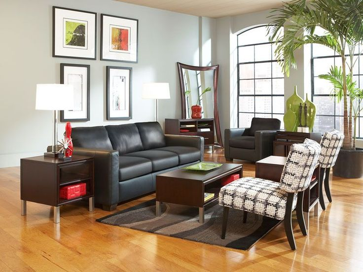 Rent The Black Leather Carlo II With Draycott Living Room Set From CORT.  Bring Your Rooms To Life With CORT Furniture Rental Sets.