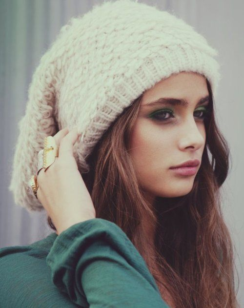 Slouchy hat and long hair