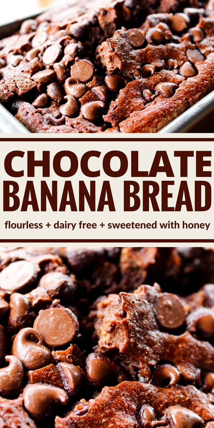 This Chocolate Banana Bread is flourless, dairy free, and sugar free but I bet you won't believe it! Instead it's made with oats and sweetened with honey! Plus everything just goes right into the blender!