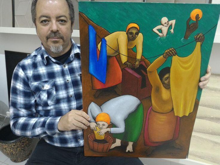 """""""Lavadeiras"""", pintura acrílica, 2002"""