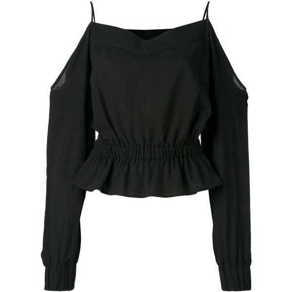 Balmain off-shoulder blouse (€665) ❤ liked on Polyvore featuring tops, blouses, shirts, blusas, balmain, black, long sleeve blouse, off the shoulder tops, off shoulder blouse and off shoulder tops