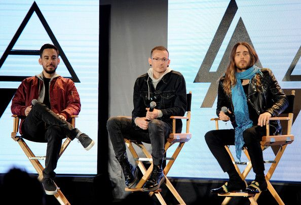 Jared Leto Mike Shinoda Photos Photos - (L-R) Musicians Mike Shinoda and Chester Bennington of Linkin Park and Jared Leto of Thirty Seconds to Mars appear onstage at a press conference to announce their new tour at Milk Studios on March 4, 2014 in Los Angeles, California. - AFI Press Announcement
