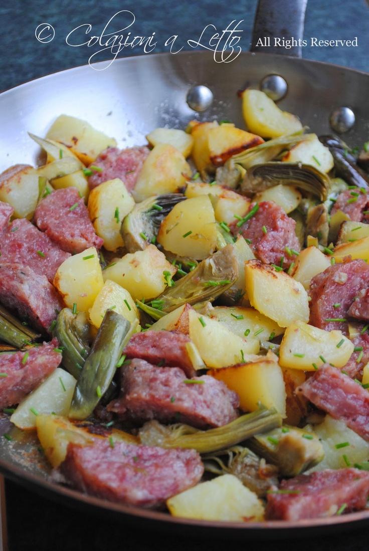 Padellata di cotechino, carciofi e patate
