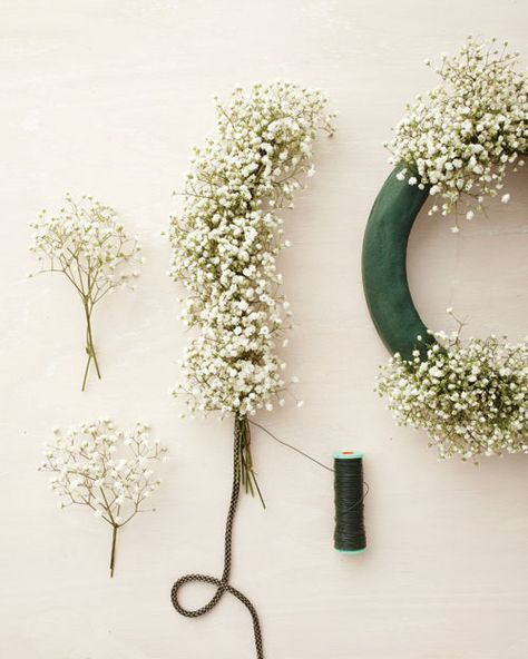 Baby's Breath Wedding Decor How-To - Martha Stewart Weddings [channel] If you found nice looking fake flowers, it Would be nice for a wreath on your front door, too.