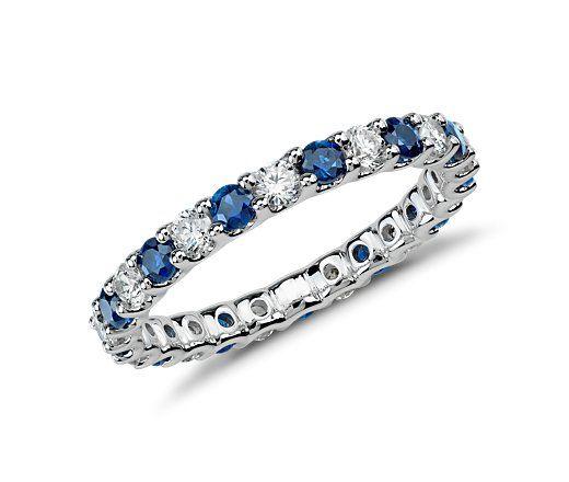 Beautiful Saphire and Diamond Wedding/Eternity Band