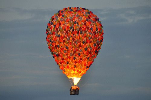 A hot air balloon Disney made inspired by the movie Up.