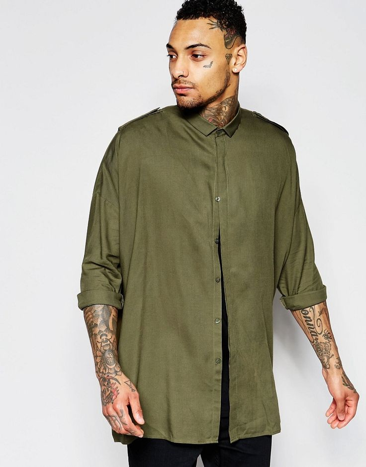 Image 1 of ASOS Military Shirt In Khaki With Drop Shoulder And Epaulette Details