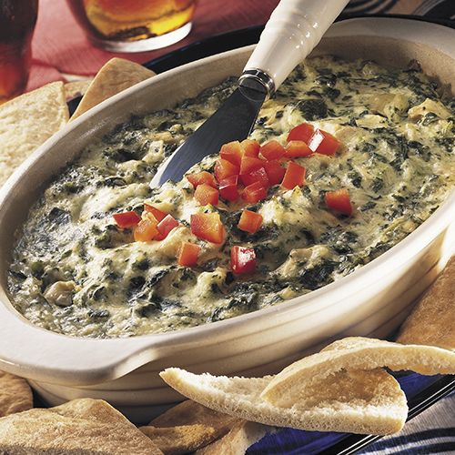 Hot Artichoke & Spinach Dip - The Pampered Chef®  I don't use creamed spinach but it's still super tasty!
