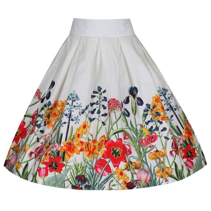 'Tippi' Floral Garden Border Print Swing Skirt