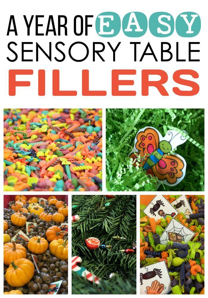 Sensory Activities and Sensory Bin Fillers.  Find out more in A Year of EASY Sensory Table Fillers and Activities