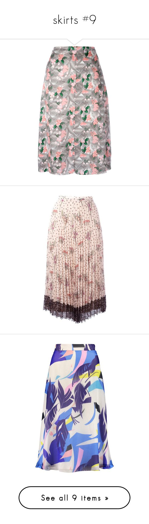 """skirts #9"" by julidrops ❤ liked on Polyvore featuring skirts, red, red valentino skirt, multi color skirt, floral knee length skirt, pleated skirt, pink floral skirt, multi, midi skirt and floral print midi skirt"