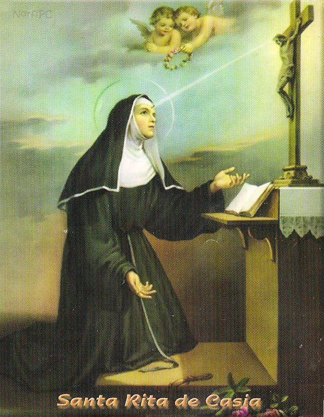Imagen como se representa a Santa Rita de Casia, con el rayo de luz que proviene de la corona de Jesucristo