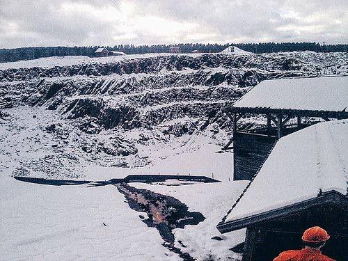 The Falun mine covered in snow, Sweden.