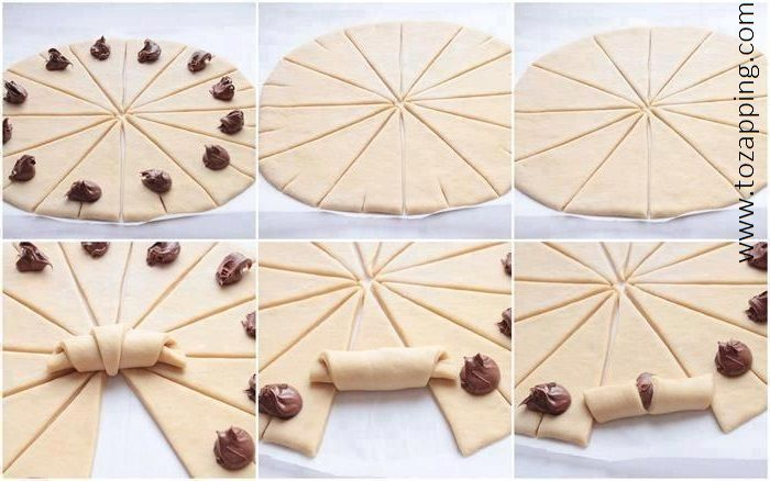 Cómo hacer croissants caseros rellenos de chocolate http://tozapping.com/como-hacer-croissants-caseros-rellenos-de-chocolate/