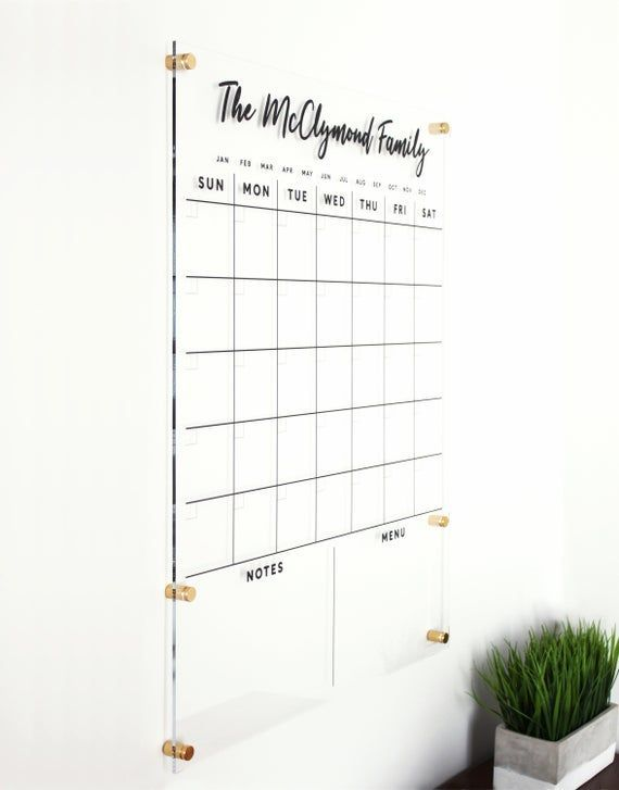 Dry Erase Calendar Custom Family Name Acrylic Calendar Command