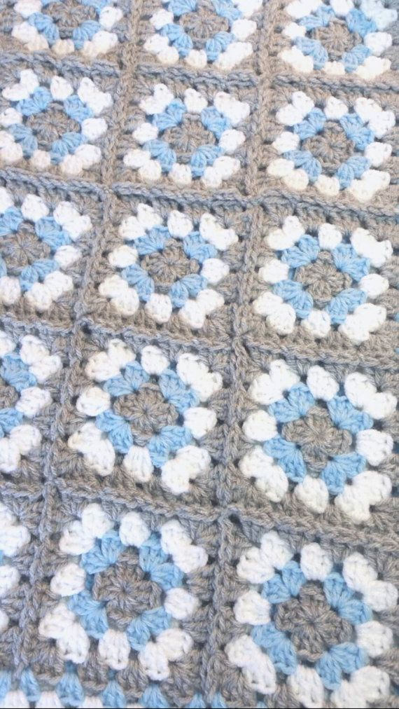 Gray and Blue Baby Blanket Crochet Handmade Car by littledarlynns